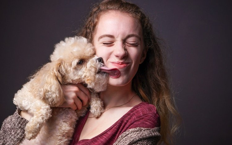 girl, dog, love, hair, face, language, poodle, emotions