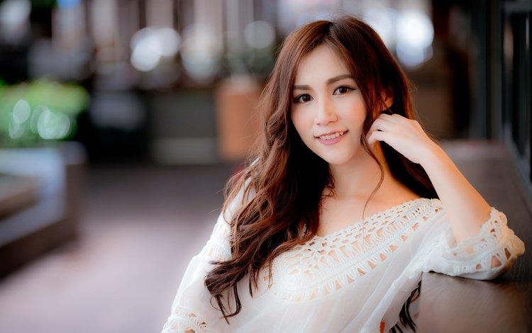 девушка, улыбка, взгляд, волосы, азиатка, girl, smile, look, hair, asian