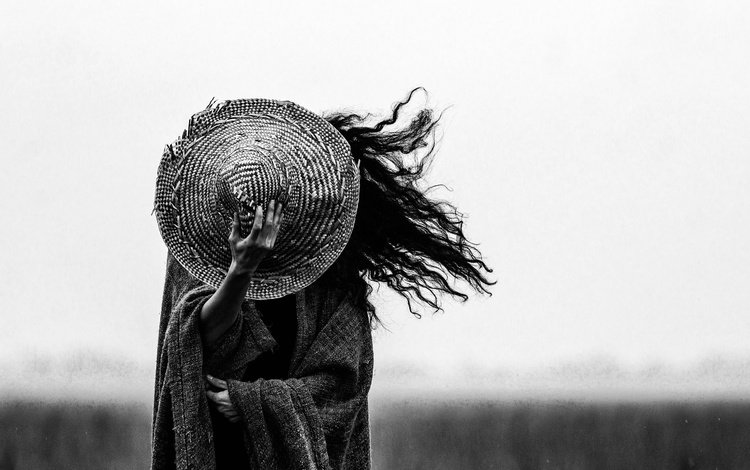 girl, hair, the wind, hat
