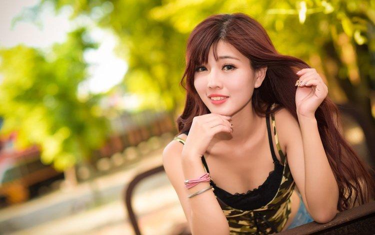 girl, smile, look, hair, face, asian, bracelets