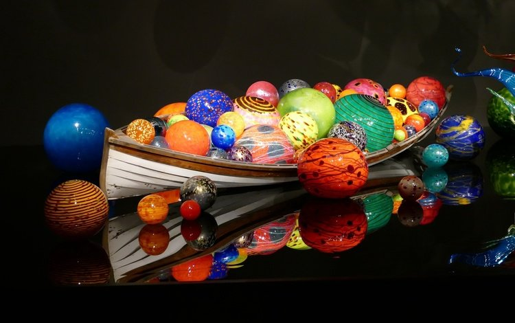 reflection, background, colorful, color, balls, black background