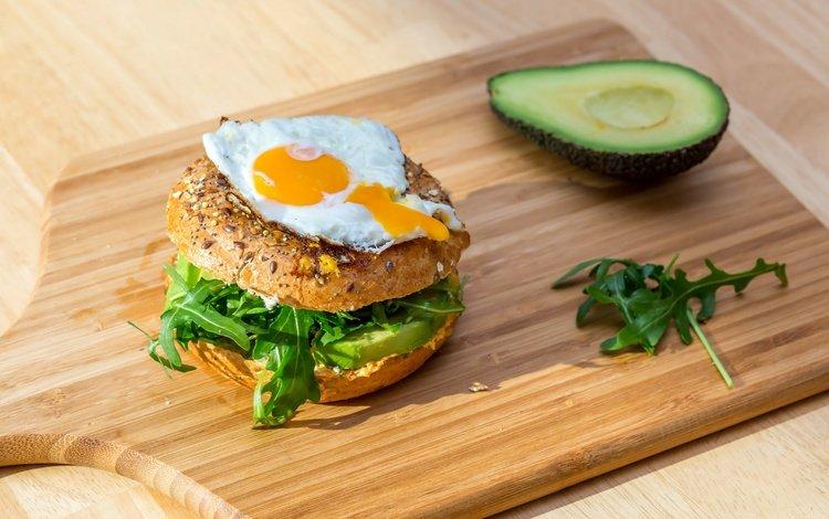 гамбургер, яйцо, авокадо, булочка, hamburger, egg, avocado, bun