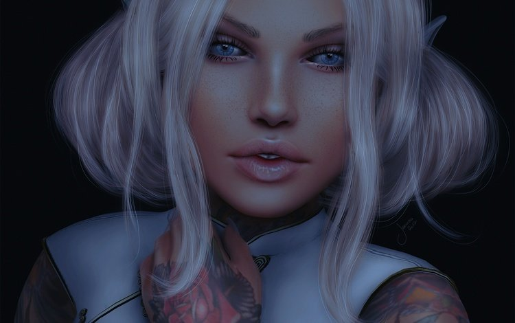 eyes, girl, background, tattoo, hair, lips, face