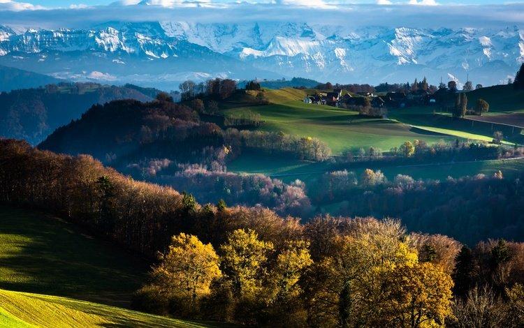 облака, деревья, горы, осень, швейцария, берн, clouds, trees, mountains, autumn, switzerland, bern
