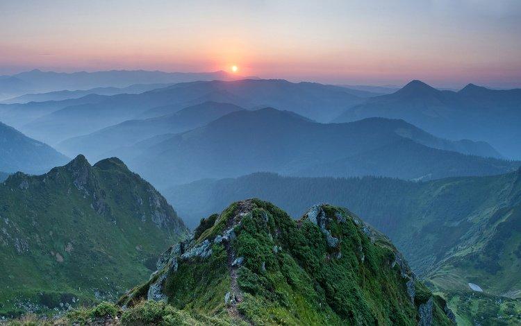 горы, природа, лес, закат, пейзаж, туман, украина, mountains, nature, forest, sunset, landscape, fog, ukraine