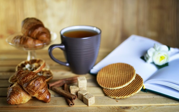 корица, чай, книга, сахар, выпечка, вафли, круассаны, cinnamon, tea, book, sugar, cakes, waffles, croissants
