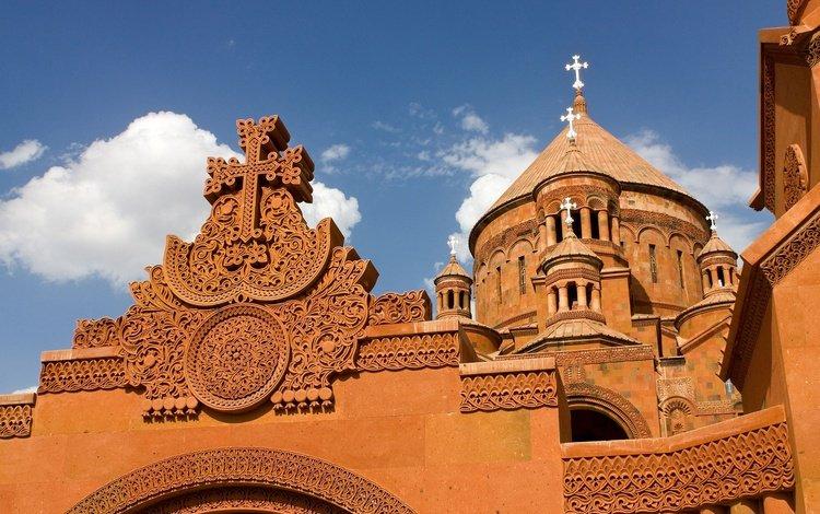 небо, облака, церковь, крест, армения, айастан, goarmenia, xach, the sky, clouds, church, cross, armenia, hayastan