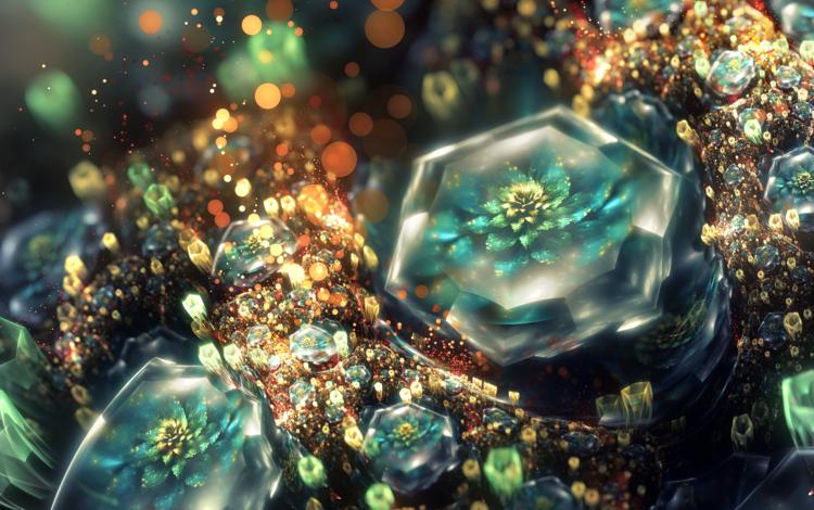 цветы, арт, кристаллы, фрактал, 3д, flowers, art, crystals, fractal, 3d