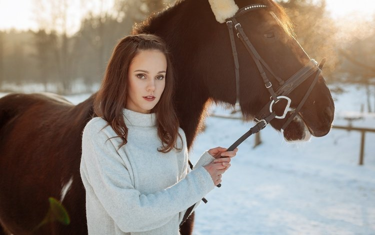 horse, winter, girl, brunette, photoshoot