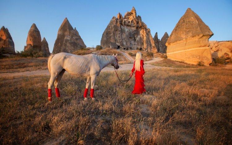 horse, rocks, girl, mood, blonde, red dress