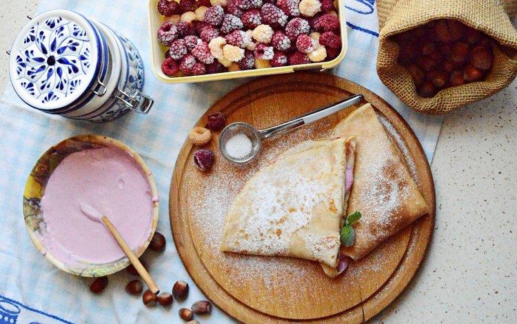малина, ягоды, выпечка, блины, крем, raspberry, berries, cakes, pancakes, cream