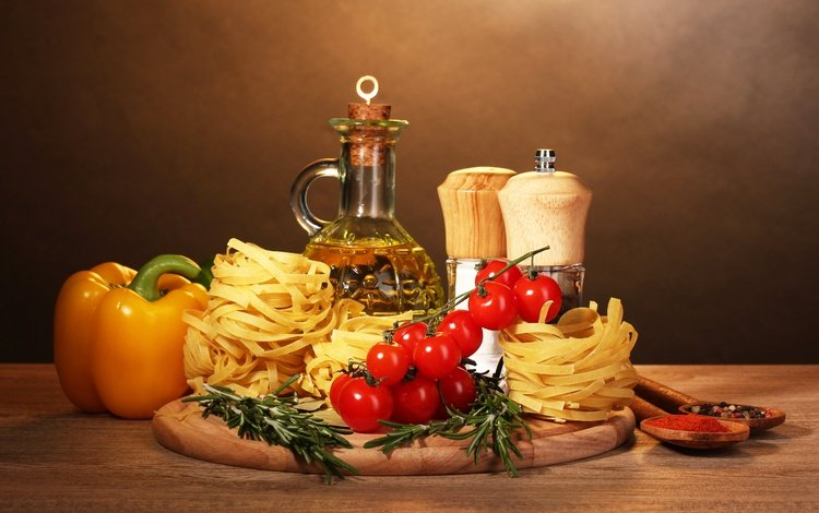 oil, tomatoes, pepper, spices, pasta, cutting board