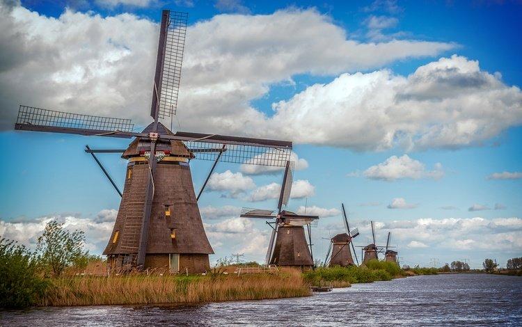 небо, облака, вода, река, природа, мельница, мельницы, нидерланды, ветряная мельница, windmill, the sky, clouds, water, river, nature, mill, netherlands