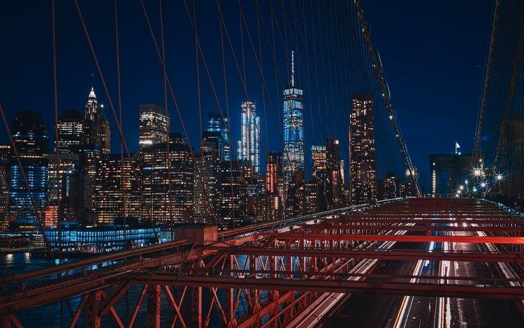 ночь, огни, небоскребы, нью-йорк, здания, бруклинский мост, night, lights, skyscrapers, new york, building, brooklyn bridge