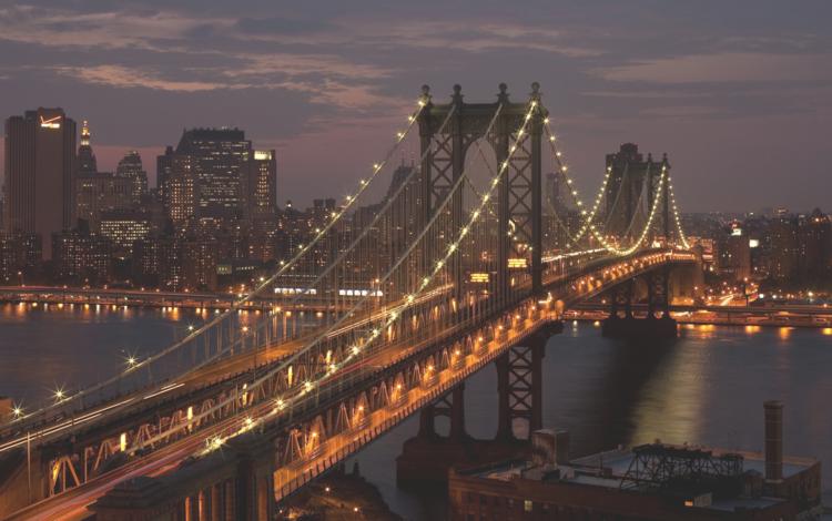 night, the city, usa, new york, manhattan, brooklyn bridge