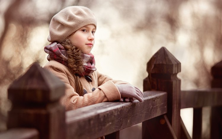 autumn, girl, the fence, braid, takes, gloves, coat, scarf