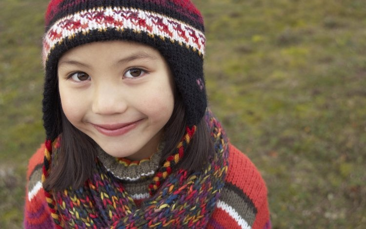 smile, autumn, children, girl, hat