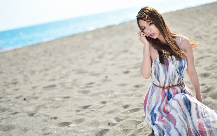 sand, summer, hair, face, the wind, figure