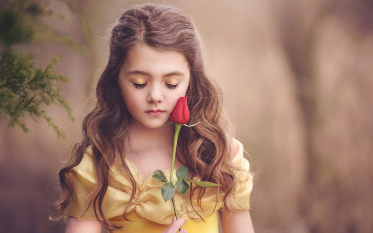 dress, flower, rose, girl, outfit, makeup, curls, character, brown hair, closed eyes, belle