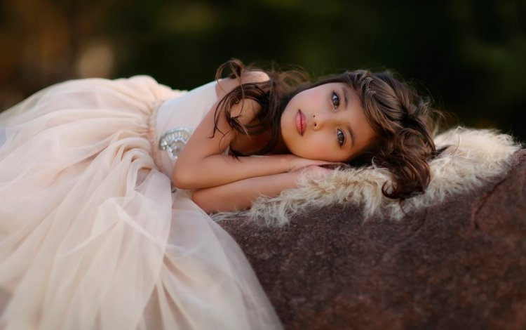 dress, look, girl, hair, face, child, fur, pile