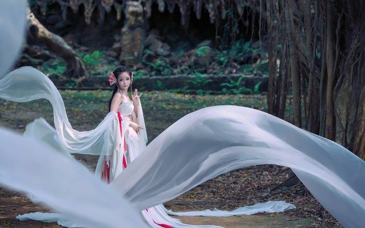 girl, dress, model, fabric, asian