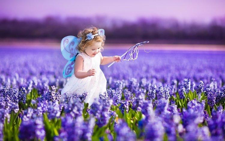 flowers, dress, field, lavender, wings, joy, girl, fairy, child, magic wand