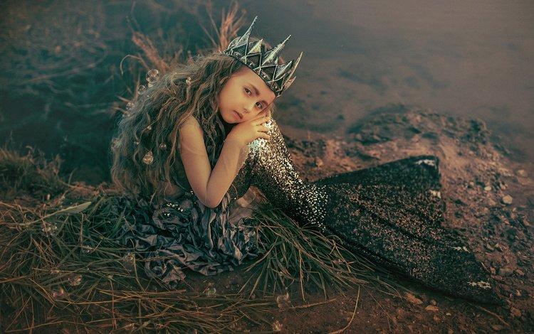 nature, shore, look, bubbles, girl, hair, face, mermaid, the little mermaid, rus