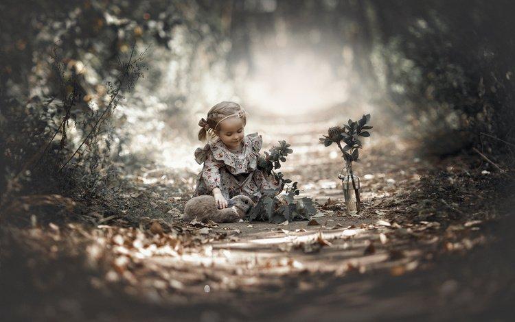 nature, leaves, dress, flower, branches, girl, child, rabbit, animal, bottle, baby