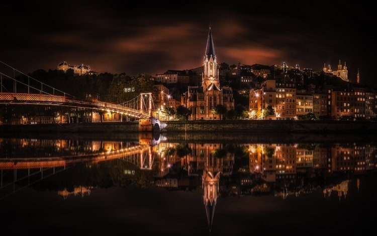 light, night, river, reflection, bridge, the city, home, church, france, lyon, stéphane sélo