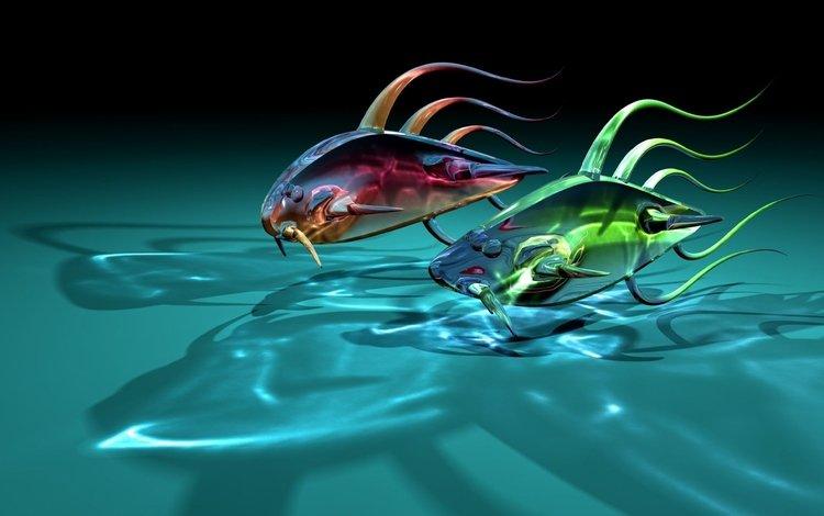 отражение, рыбки, графика, стеклянные, две, 3д, прозрачные, reflection, fish, graphics, glass, two, 3d, transparent