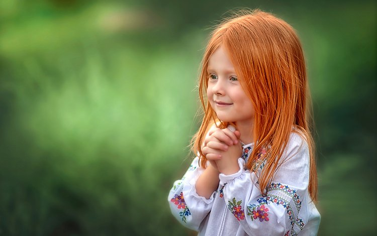 smile, look, children, red, girl, hair, face, child, emotions, shirt