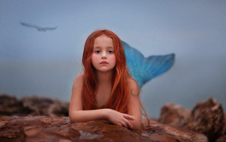 look, red, girl, stone, hair, face, tail, mermaid, the little mermaid