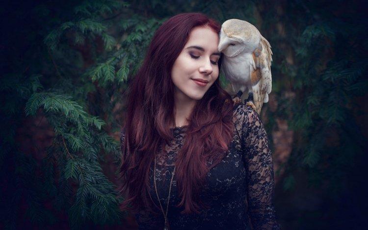 сова, сипуха, девушка, настроение, поза, птица, волосы, лицо, закрытые глаза, owl, the barn owl, girl, mood, pose, bird, hair, face, closed eyes