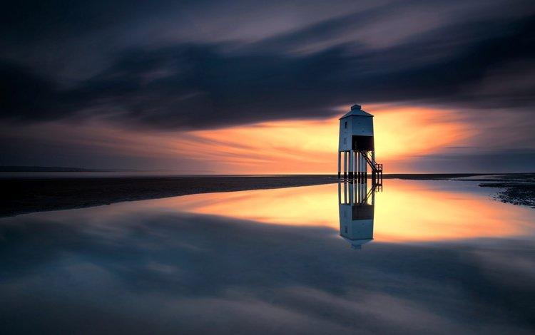 небо, тучи, отражение, море, маяк, англия, павла, бернем-он-си, the sky, clouds, reflection, sea, lighthouse, england, paul, burnham-on-sea