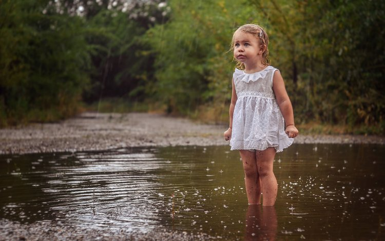 water, nature, dress, girl, rain, child, puddle, baby