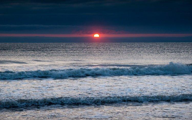 восход, волны, море, горизонт, рассвет, англия, северное море, sunrise, wave, sea, horizon, dawn, england, north sea