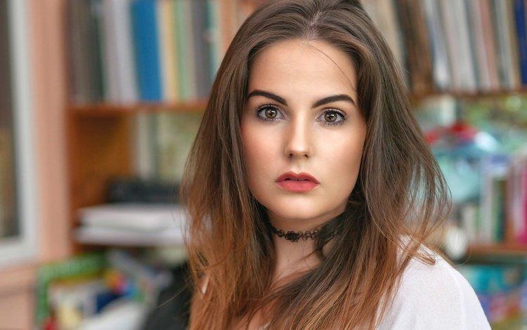 девушка, портрет, взгляд, волосы, губы, лицо, girl, portrait, look, hair, lips, face
