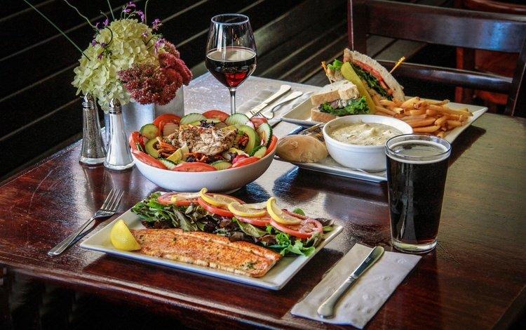 зелень, стол, вино, рыба, кола, greens, table, wine, fish, cola