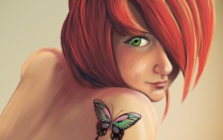 арт, девушка, взгляд, бабочка, рыжая, тату, татуировка, плечо, anna mannco, art, girl, look, butterfly, red, tattoo, shoulder