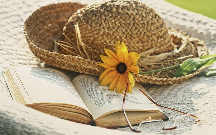 цветок, лето, очки, книга, шляпа, sandra cunningham, flower, summer, glasses, book, hat