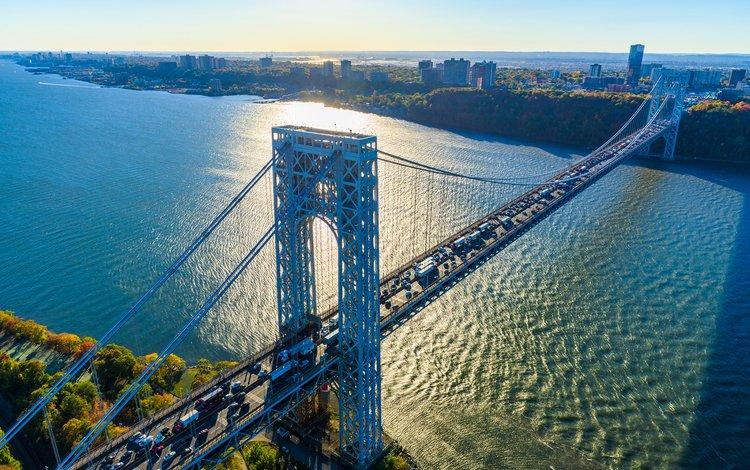 мост, город, сша, нью-йорк, george washington bridge, dszc, bridge, the city, usa, new york