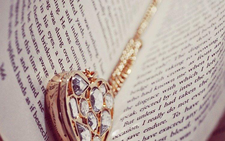 буквы, сердце, кулон, книга, страницы, letters, heart, pendant, book, page