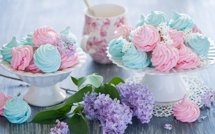 ветка, сладости, сладкое, сирень, десерт, anna verdina, безе, меренги, branch, sweets, sweet, lilac, dessert, meringue