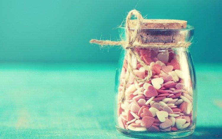 конфеты, сердечки, сладкое, банка, десерт, candy, hearts, sweet, bank, dessert