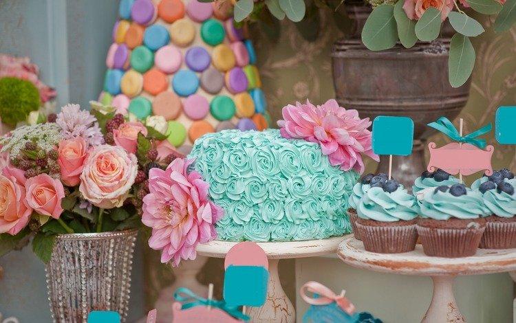 цветы, черника, торт, кексы, flowers, blueberries, cake, cupcakes
