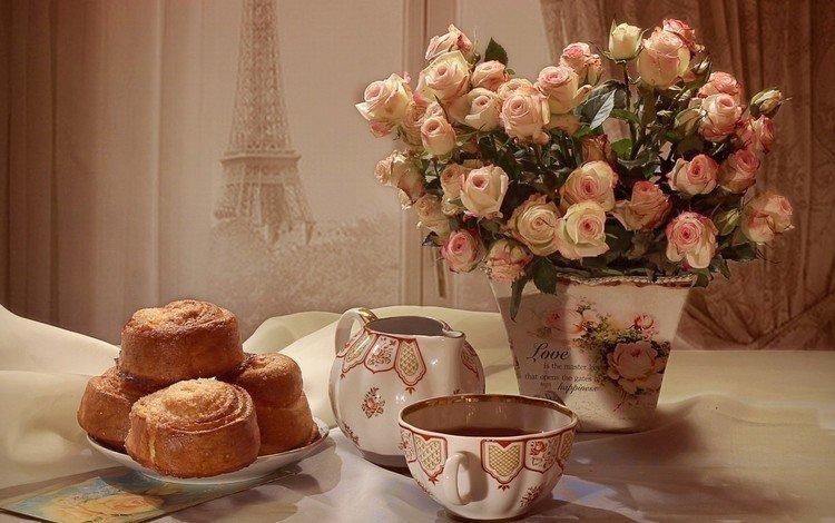 цветы, розы, букет, чай, выпечка, натюрморт, кексы, flowers, roses, bouquet, tea, cakes, still life, cupcakes