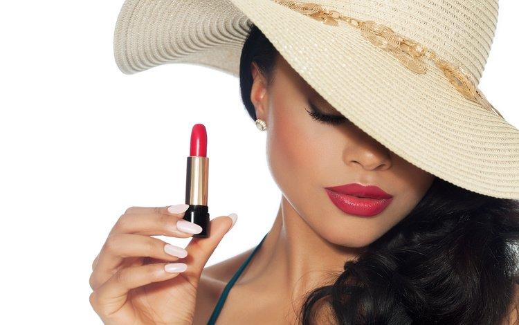 girl, brunette, makeup, lipstick, hat, red lipstick