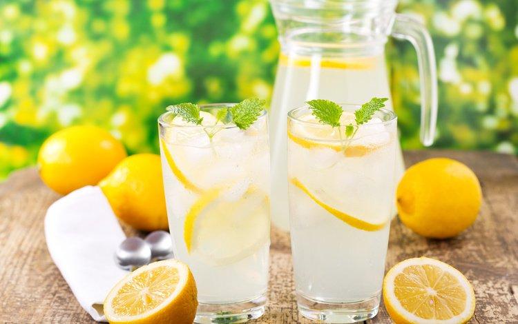 вода, летнее, мята, напиток, лёд, стаканы, кувшин, лимоны, лимонад, water, summer, mint, drink, ice, glasses, pitcher, lemons, lemonade