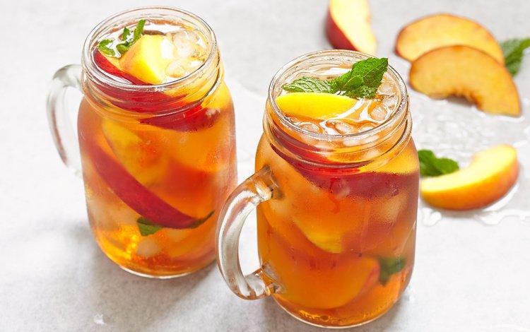 мята, напиток, яблоки, лёд, персики, mint, drink, apples, ice, peaches