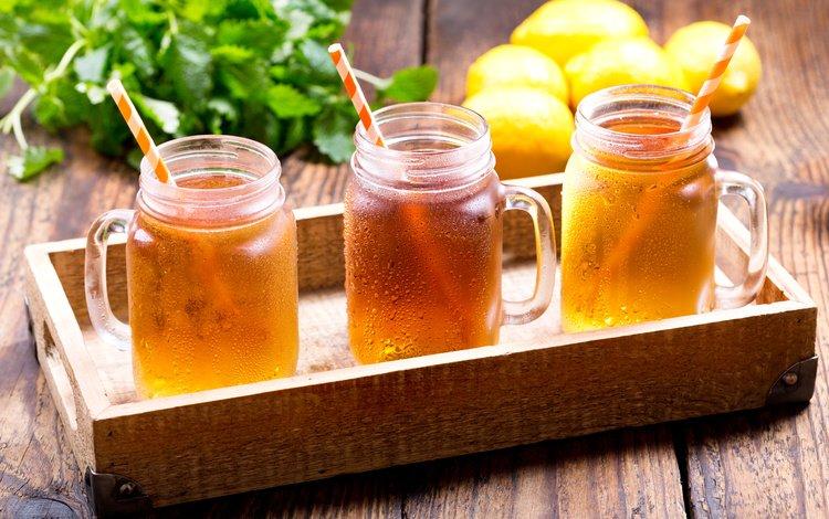напиток, лёд, чай, банки, поднос, лимоны, лимонад, drink, ice, tea, banks, tray, lemons, lemonade